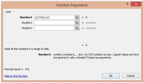 Sum Function excel
